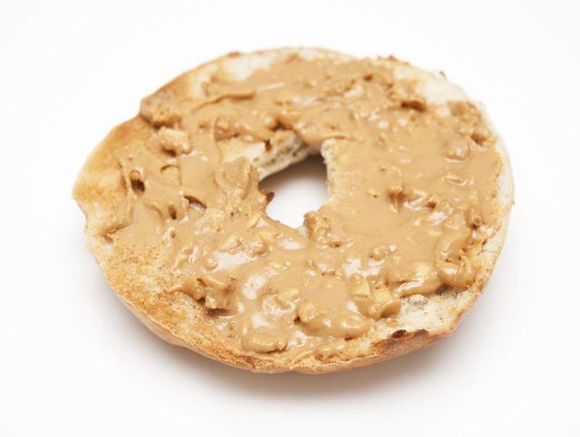 A Bagel With Peanut Butter On It