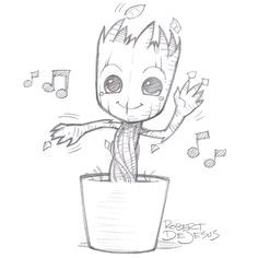 A Drawing Of Groot In A Planter