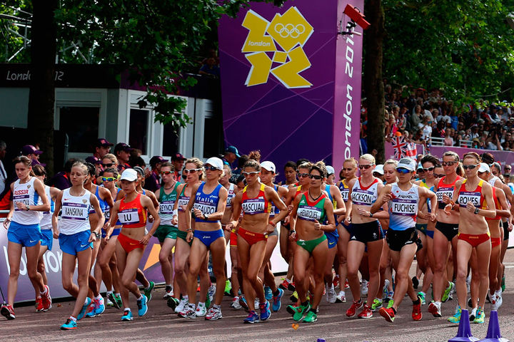 This is A Picture Of The Women's Olympic 20k Start